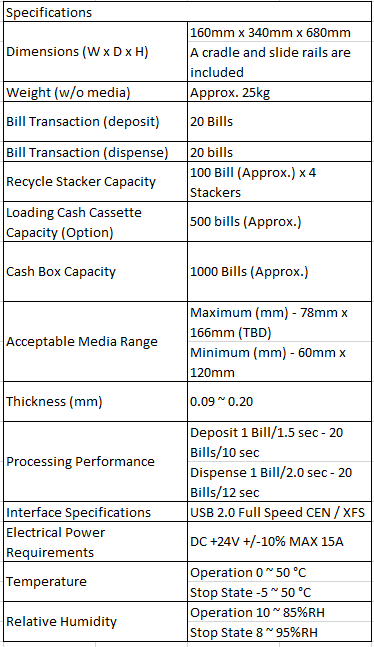 Fujitsu G60 Sepcifications